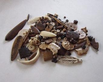 Buffalo Bone Beads Pendants 1/2 LB Assortment mixed lot Jewelry Beads Tribal Crafts Craft Supplies Bone Beads