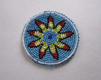Beaded Rosette Medallion Tribal Regalia Beadwork Craft 4C