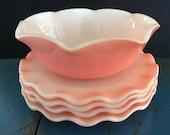 Vintage Crinoline , Hazel Atlas ,pink small plates ,small bowl vintage Hazel Atlas pink crinoline.