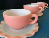 Crinoline dishes ,pink crinoline tea cups and saucers , vintage Hazel Atlas pink crinoline .