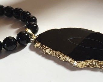 Black Onyx & Agate Necklace