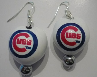 Chicago Cubs Kukui Nut Earrings