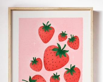 Strawberry Wall Art Etsy
