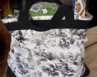 Black & White Toile Print California Grocery/Shopping/Tote