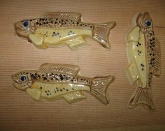 Handcrafted unique three dimensional fish tile, ceramic, multi colored, semi-realistic