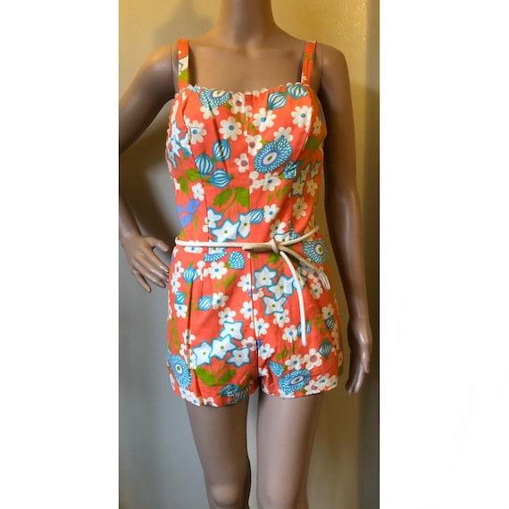 Vtg Floral Romper/Swimsuit - 1960s