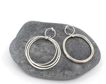 big hoop earrings with three circles, sterling silver, modern contemporary simple elegant design, handmade in France