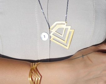 Chevron Long Necklace Sterling Silver 925