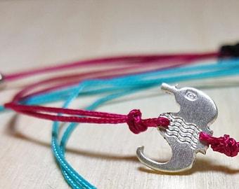 Cord Bracelet, Sterling Silver Charm Bracelet, String Bracelet with Charm, String Bracelet Adjustable, Ocean Bracelet, Serfer Bracelet
