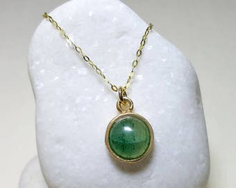 Delicate Gold Necklace, Gold Gemstone Pendant Necklace, Dainty Gemstone Pendant, Round Gemstone Necklace, Aventurine Necklace, Silver 925