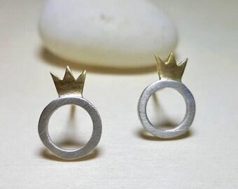 Silver Earrings Stud, Small Stud Earrings Sterling Silver, Crown Earrings Stud, Hypoallergenic Studs, Gift for Her, Dainty Jewelry, Elegant