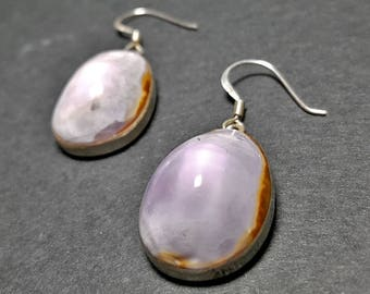 Silver Teardrop Earrings Wedding, Sterling Silver Stone Earrings, Agate Earrings, Large Gemstone Earrings, Wedding Earrings Boho