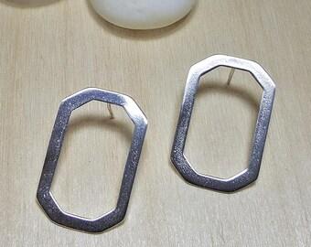 Big minimalist earrings, Geometric earrings, Simple earrings hoop earrings, Minimalist Stud Earrings, Geometric Stud Earrings, Gift for Her