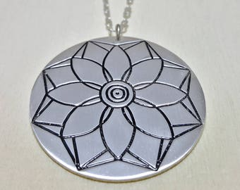Long Necklace with pendant, Long Floral Necklace for Women, Long Boho Necklace, Mandala Necklace, Lotus Necklace, Flower Necklace, Yoga gift