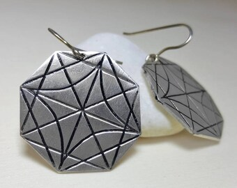 Drop Geometric Earrings, Geometric Earrings, Minimalist Earrings, Modern Earrings for Women, Geometric Earrings for Women, Octagon Earrings