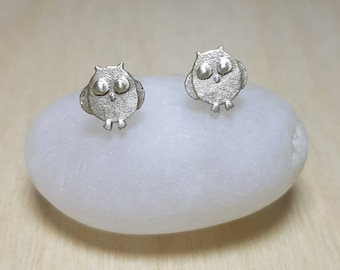 Owl Earrings, Animal Stud Earrings, Tiny Sterling Silver Stud Earrings, Bird Studs, Animal Studs, Tiny Silver Studs, Silver Owl Earrings