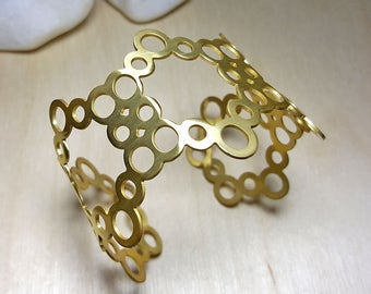 Bracelets for Women, Gold Cuff Bracelet, Nature Inspired Jewelry, Beehive Jewelry, Honeycomb Bracelet, Geometric Cuff Bracelet, Gift for Her