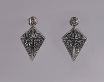Cycladic Idol Brutalist Earrings Ancient Greek Earrings Hammered Oxidized Silver Earrings Modernist Sterling Earrings