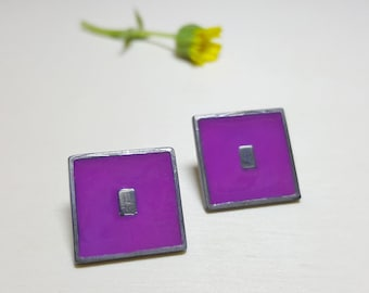 Square Studs, Square Earrings, Geometric Stud Earrings, Fun Earrings, Square Stud Earrings, Enamel Earrings, Geometric Earrings