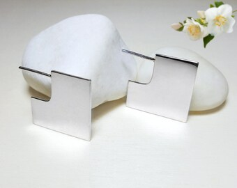 Square Earrings, Geometric Studs, Geometric Stud Earrings, Minimal Silver Earrings, Silver Geometric Earrings, 3d Earrings, 925 Silver