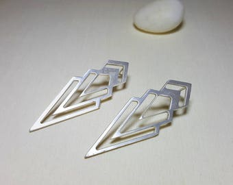Chevron Earrings, Triangle Earrings, Long Triangle Earrings, Geometric Studs, Geometric Stud Earrings, Silver Geometric Earrings