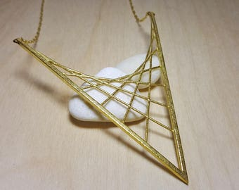 Statement Necklaces, Triangle Necklace, Geometric Necklace, Long Geometric Necklace , Long Geometric Necklace, Minimalist Geometric Necklace