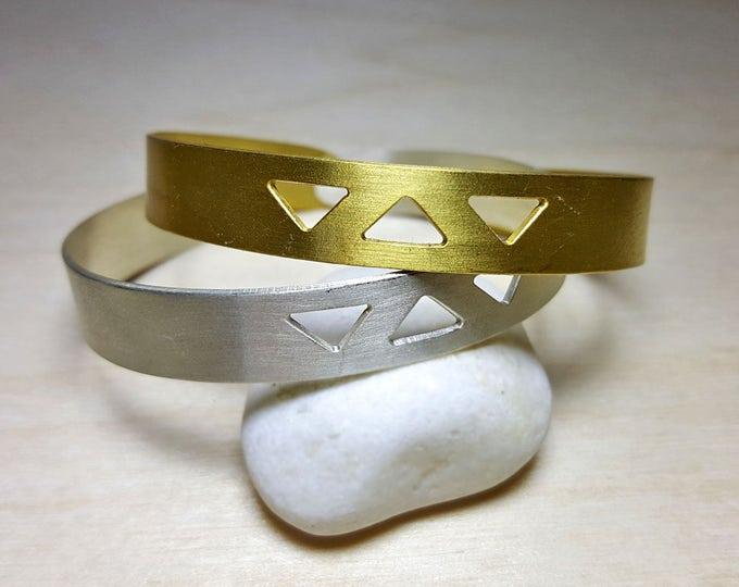 Featured listing image: Geometric Bracelet, Boho Bracelet Cuff, Boho Bracelet Silver or Gold, Boho Bracelets for Women, Geometric Jewelry, Triangle Bracelet