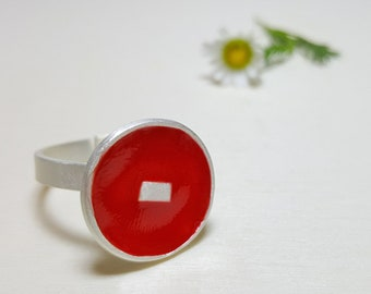 Circle Ring, Minimalist Ring, Red Ring Women, Cute Rings, Modern Ring, Round Ring, Disc Ring, Enamel Ring, Colorful Ring, Whimsical Jewelry