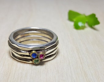 Three Stone Ring, Silver Stacking Ring with Stone, Wide Silver Ring, Swarovski Ring, Multistone Ring, Sterling Silver Stone Rings for Women