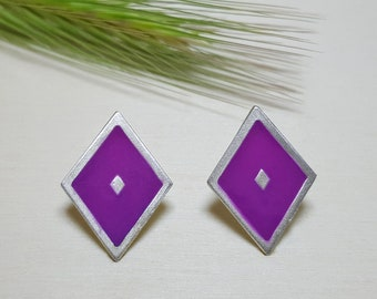 Geometric Studs, Colorful Earrings, Fun Earrings, Geometric Earrings, Modern Studs, Post Earrings for Women, Boho Studs, Rhombus Earrings
