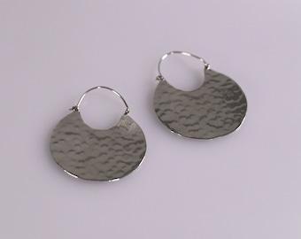 Oversized Hammered Sterling Silver Earrings