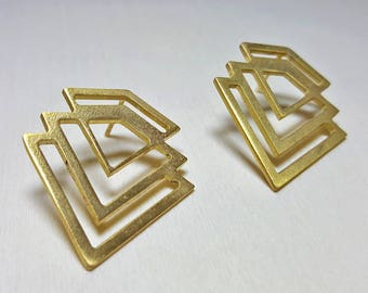 Modern Stud Earrings Brass, Modern Earring Stud, Contemporary Earrings, Geometric Post Earrings, Post Earrings, Geometric Earrings