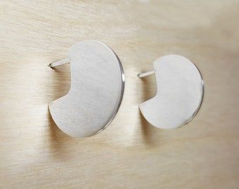 Sterling Silver Hoop Earrings, Sterling Silver Hoops, Circle Stud Earrings, Minimal Circle Earrings, Disc Studs, Silver Circle Earrings