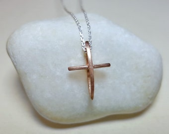 Cross Pendant, Cross Necklace Sterling Silver, Cross Necklace for Girls, Christian Necklace, Rose Gold Cross Necklace, Modern Cross Necklace