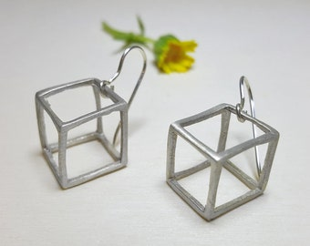 Cube Earrings, Geometric Earrings Minimalist Jewelry, Minimalist Earrings, Geometric Earrings Statement, Shape Earrings, 3D Earrings