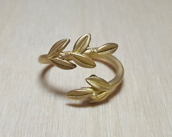 Silver Olive Leaves Ring, Twisted Olive Twig Elegant Ring, Adjustable Handmade Delicate Ring, Goddess Athena Symbol Greek Jewelry