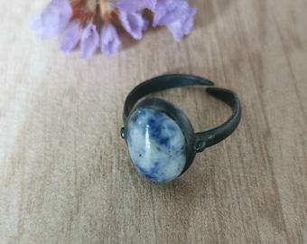 Boho Ring, Engagement Ring, Gemstone Ring, Boho Gemstone Ring, Birthstone Stacking Ring, Sodalite Gemstone, Mother day gift, Gift for her