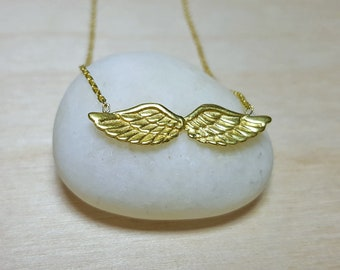 Wings Necklace, Angel Wings Necklace, Remembrance Necklace, Angel Wings Jewelry, Guardian Angel Necklace, Sterling Silver Dainty Necklace