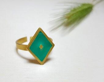 Dainty Rings for Women, Boho Adjustable Ring, Rhombus Ring, Adjustable Everyday Ring, Enamel Ring Dainty, Cocktail Ring, Adjustable Ring