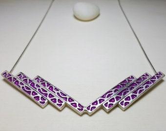 Geometric Necklace, Chevron Necklace, V Necklace, Statement Necklace Boho, Bold Necklaces for Women, Geometric Necklace Silver, Animal Print