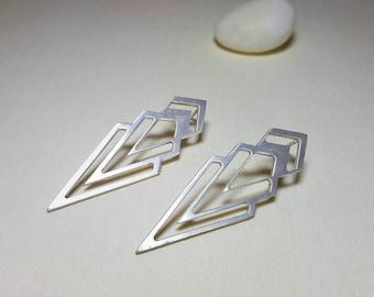 Chevron Earrings, Triangle Earrings, Long Triangle Earrings, Geometric Studs, Geometric Stud Earrings, Silver Geometric Earrings