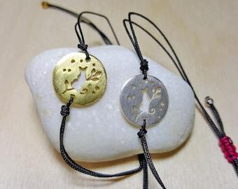 Everyday Cord Bracelets, Cat Lover Gift, Cat Jewelry, Cat Lovers Gift Women, Cat Bracelet, Cat Bracelet Charm, Cat Bracelet Sterling Silver,