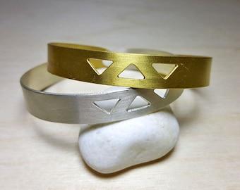 Geometric Bracelet, Boho Bracelet Cuff, Boho Bracelet Silver or Gold, Boho Bracelets for Women, Geometric Jewelry, Triangle Bracelet