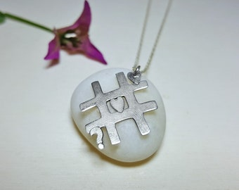 Silver Necklace for Girlfriend, Tic Tac Toe, Cute Silver Necklace, Sterling Silver Everyday Necklace, Cute Dainty Necklace, Love Necklace