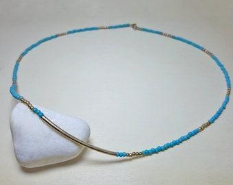 Turquoise Birthstone Necklace, Turquoise Beaded Necklace, Teal Necklace, Aqua Necklace, Delicate Beaded Necklace, Short Layering Necklaces