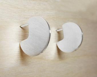Sterling Silver Hoop Earrings, Sterling Silver Hoops, Circle Stud Earrings, Minimal Circle Earrings, Disc Studs, Silver Circle Earrings