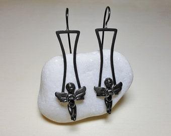 Angel Jewelry, Angel Earrings, Sterling Silver Dangle Earrings, Black Earrings for Women, Black Drop Earrings, Spiritual Earrings