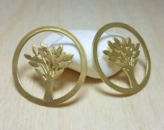 Family Tree Jewelry, Lightweight Earrings, Rustic Earrings, Tree Earrings, Spring Earrings, Round Dangle Earrings, Elina Jewellery