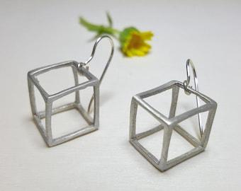 Sterling Silver Cube Earrings, Geometric Earrings Minimalist Jewelry, Minimalist Silver Earrings, Geometric Earrings Statement, 3D Earrings