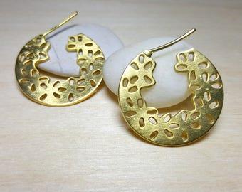 Floral Sterling Silver Hoop Earrings